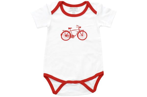 onesie with red bicycle