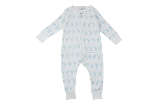 long romper in blue elephants in a line