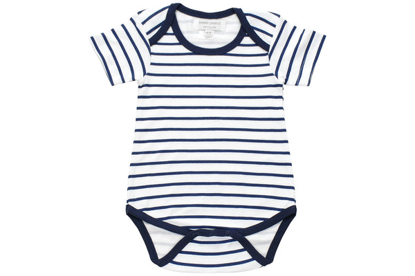 onesie in blue marseille stripe - Sweet Peanut