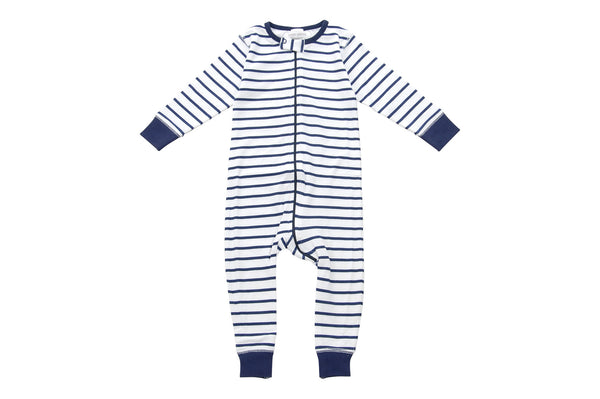 long romper in blue marseille stripe - Sweet Peanut