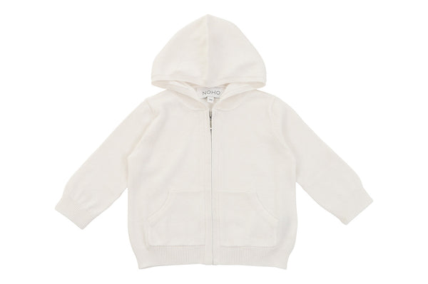 cotton cashmere white baby hoodie