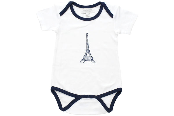 onesie with navy blue eiffel tower - Sweet Peanut