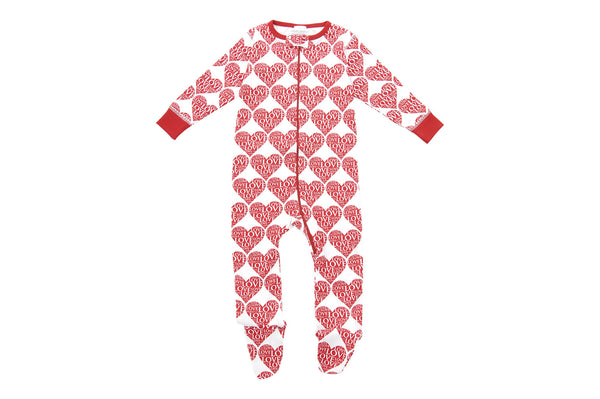 footed pajamas in all my love - Sweet Peanut