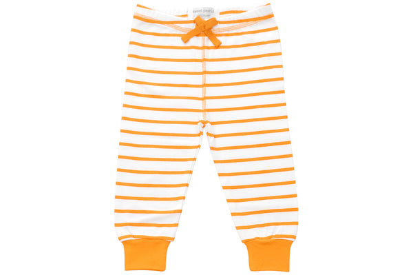 cozy pants in orange marseille stripe - Sweet Peanut