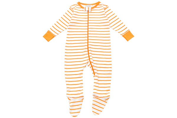 footed pajamas in orange marseille stripe - Sweet Peanut