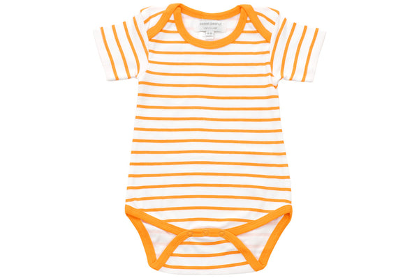 onesie in orange marseille stripe - Sweet Peanut