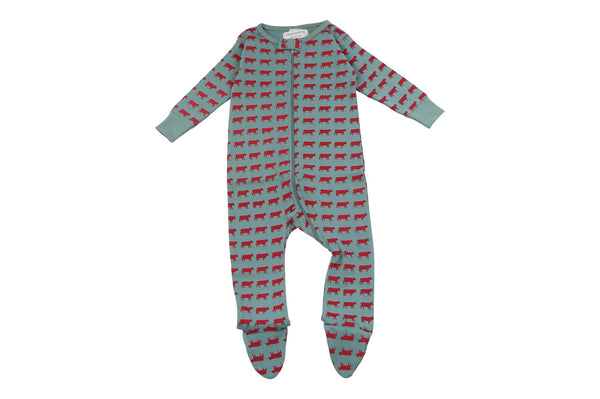 footed pajamas in moo - Sweet Peanut