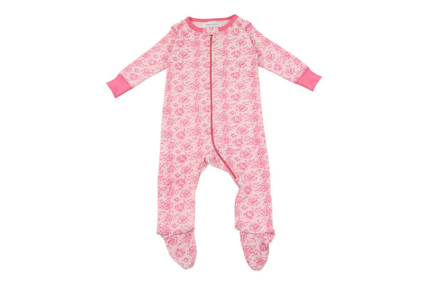 footed pajamas in rosie - Sweet Peanut