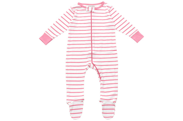 footed pajamas in pink marseille stripe - Sweet Peanut