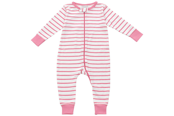 long romper in pink marseille stripe - Sweet Peanut