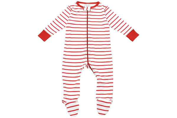 footed pajamas in red marseille stripe - Sweet Peanut