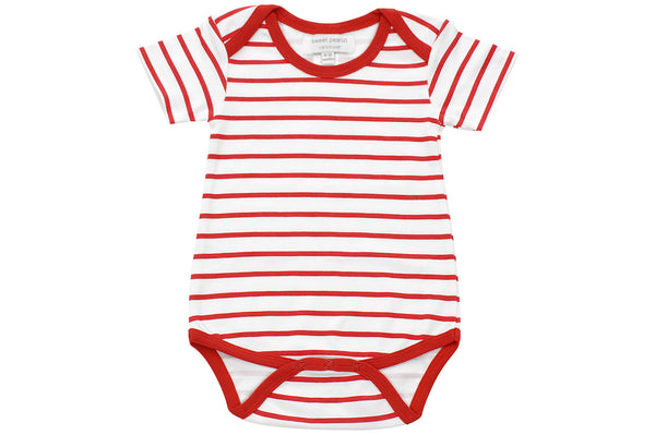 onesie in red marseille stripe - Sweet Peanut