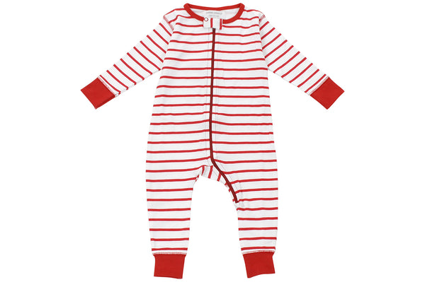 long romper in red marseille stripe