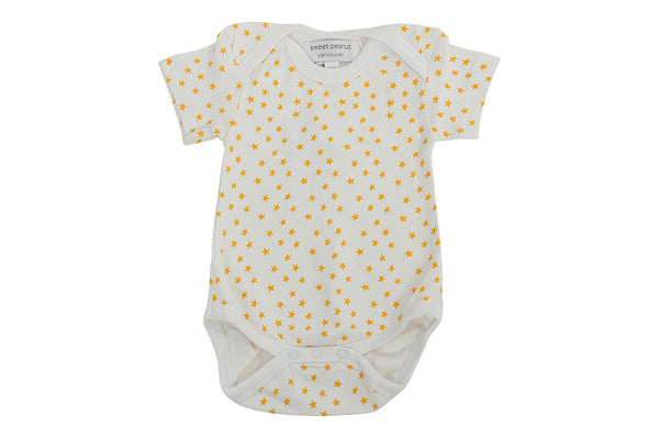 short sleeve onesie in orange stars