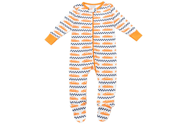 footed pajamas in orange  taxi cabs - Sweet Peanut