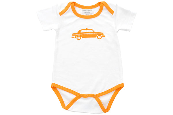 onesie with orange taxi cab