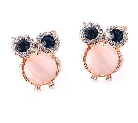 Crystal Owl Ear Rings with Black Opal Eyes