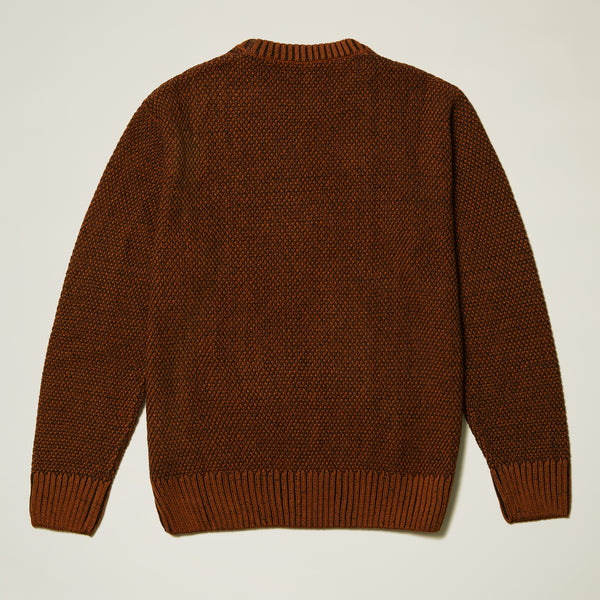 Inserch Marled Cable Cotton Blend Sweater in Caramel