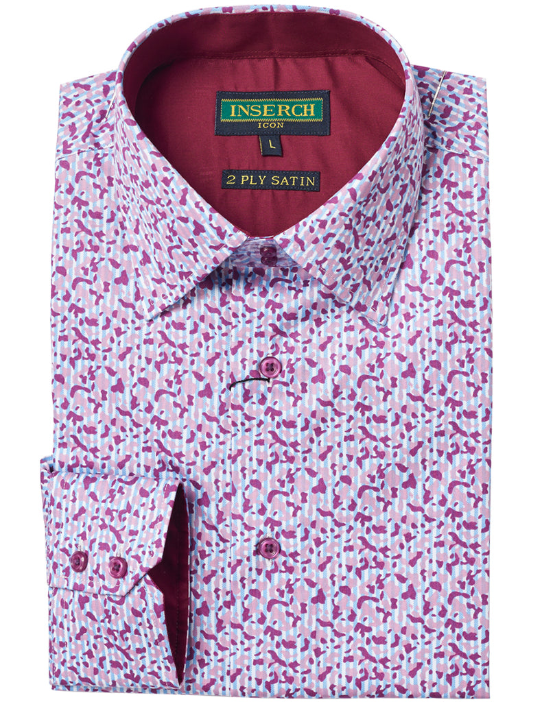Patterned Cotton Shirt with Contrast Trimming 2624-37 Lilac - Inserch