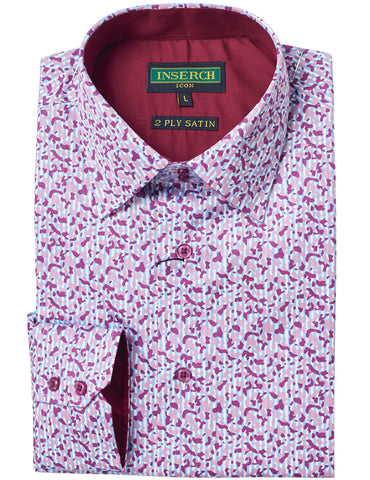 Patterned Cotton Shirt with Contrast Trimming 2624-37 Lilac