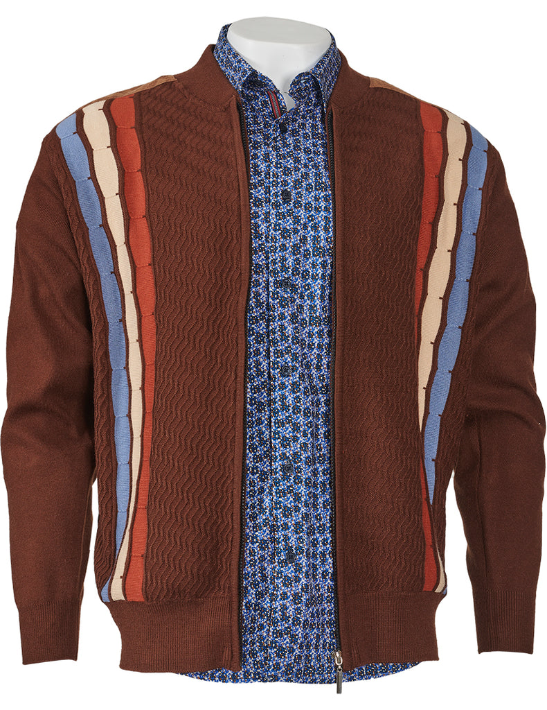 Jacquard Paneled Sweater w/Suede Trim - Inserch