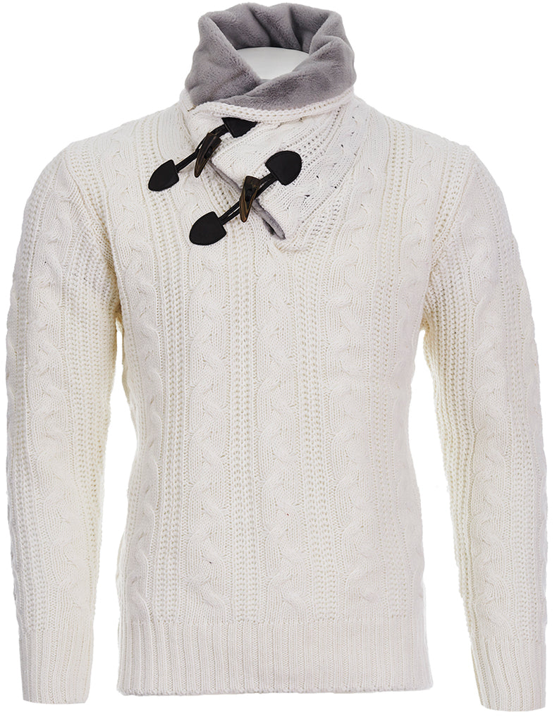 Shawl Collar Sweater w/Fur Trim - Inserch