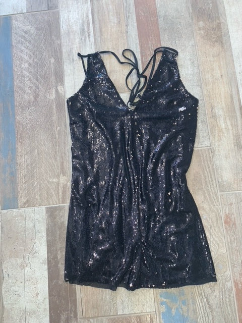 Mini Black Sequin Black Rose Dress