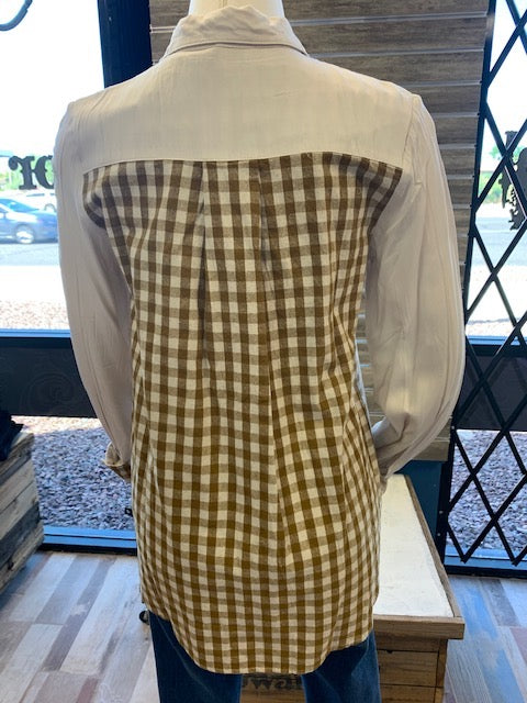 Gingham Contrast Button down Long Sleeve