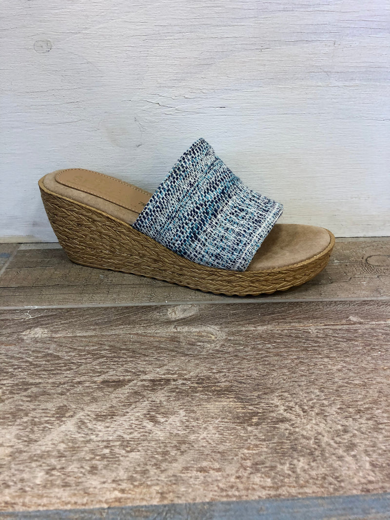Fabric Upper Slide Wedge - Fairy - Blue/Multi
