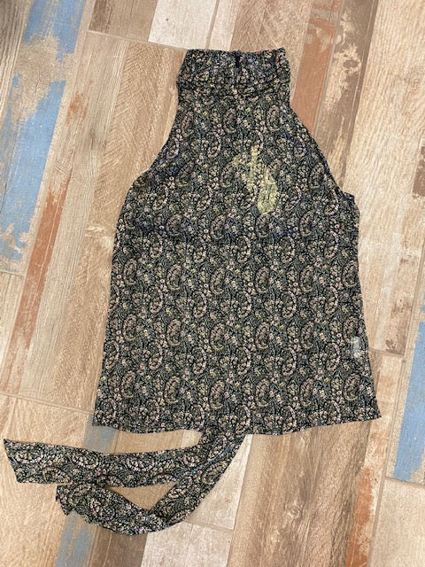 Green Paisley Sheer Halter Top