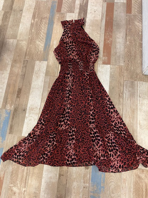 Burgundy Leopard Dress