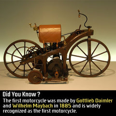 The first motorcycle was built in 1885 and it was called Reitwagen or Riding Car