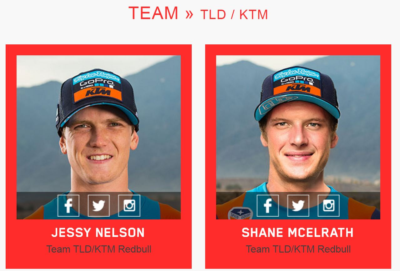 Troy Lee Designs TLD Pro MotoX Athletes - OffRoad - Dirt MX - Supercross - Team KTM Factory KTM Pro MX Off Road Riders Team