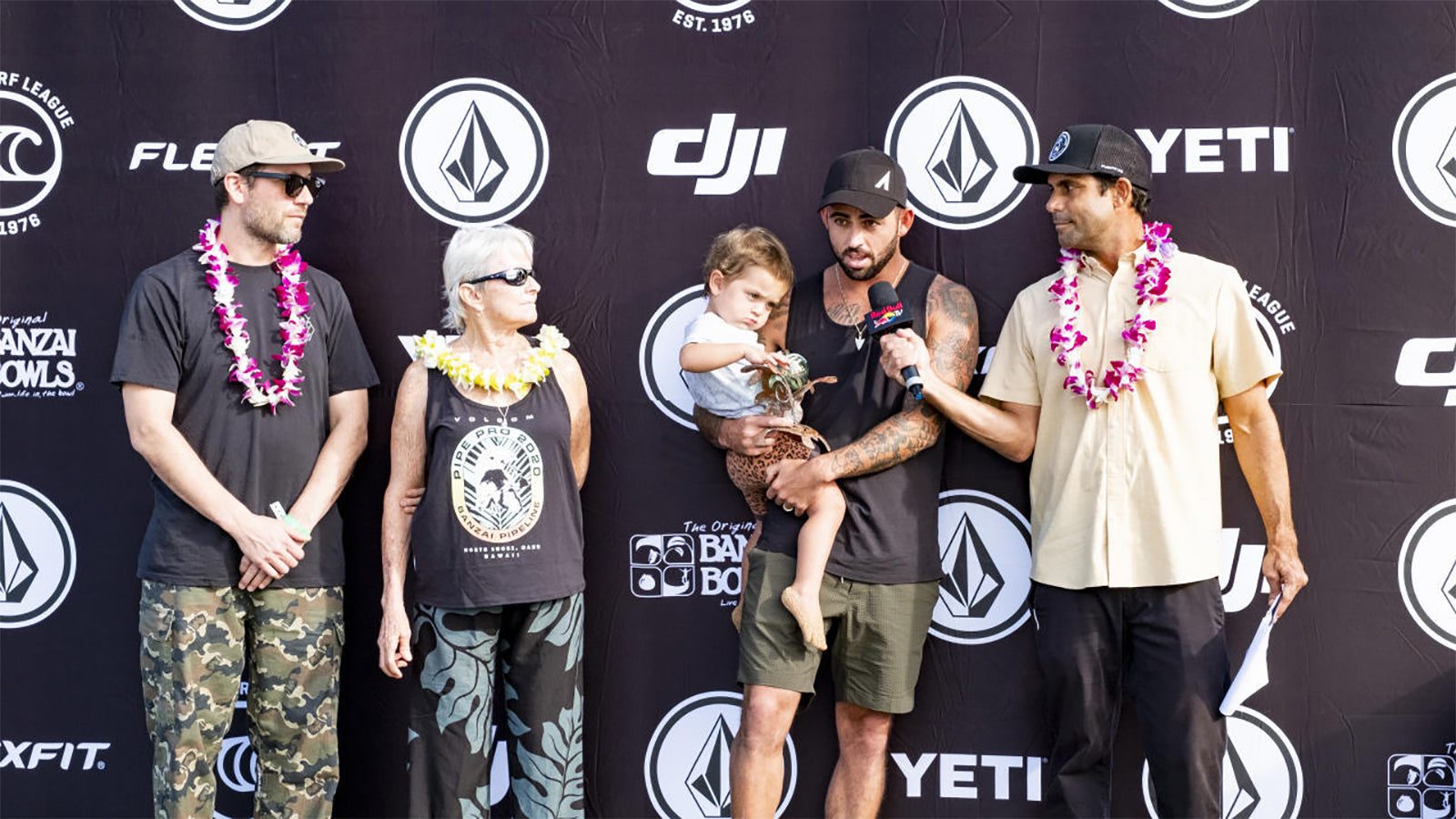 PIPELINE, UNITED STATES- FEBRUARY 01: Prize giving during day 4 the 2020 Volcom Pipe Pro at Pipeline, Haleiwa on February 01, 2020 in Hawaii, USA. (Photo by Keoki Saguibo/WSL via Getty Images)