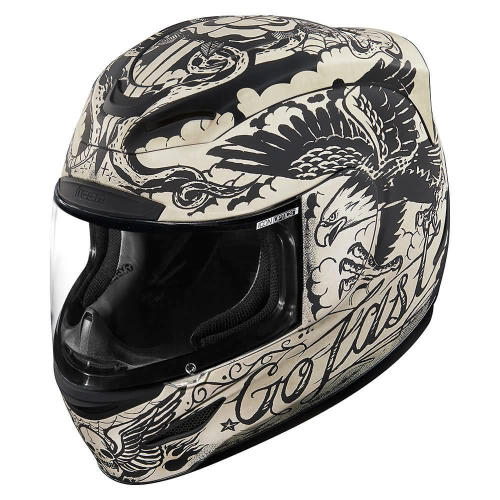 Icon Motosports All-Out Airmada Scrawl Street Helmets