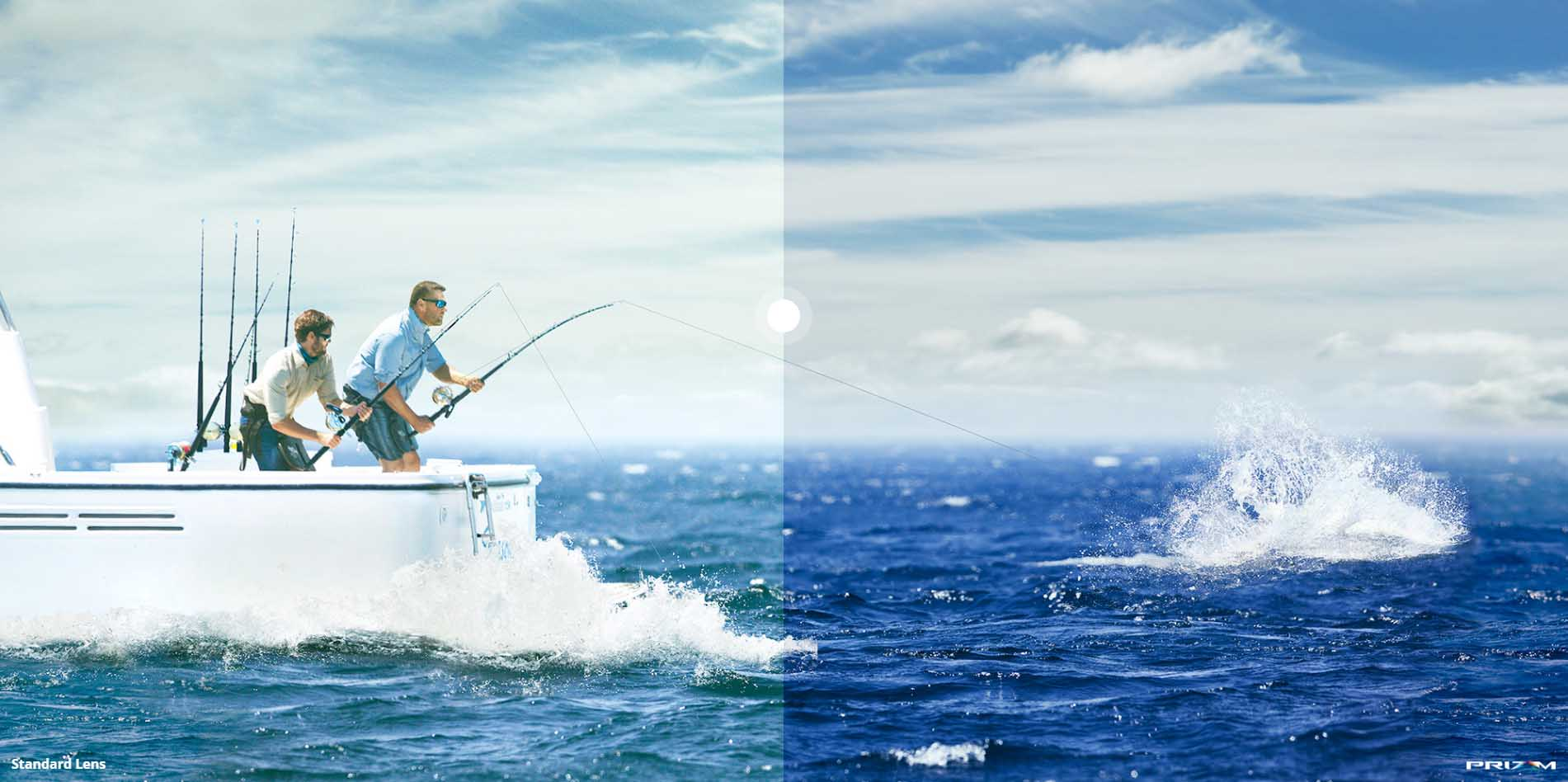 Oakley PRIZM™ DEEP WATER LENS PRIZM™ Deep Water Polarized lenses filter out the shades of blue that overwhelm your vision on open water and boost greens and reds to give you a better view of what's going on down.  The perfect compliment to fishing, ocean, sea.