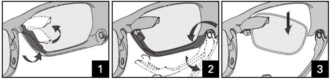 RACING JACKET & SPLIT JACKET™ LENS CHANGING INSTRUCTIONS Lens Removal Replace one lens at a time. 1. Grasp the nose pad near the bottom. 2. Rotate the nose pad up. 3. Grasp the lower jaw and rotate it down. 4. Remove the lens.