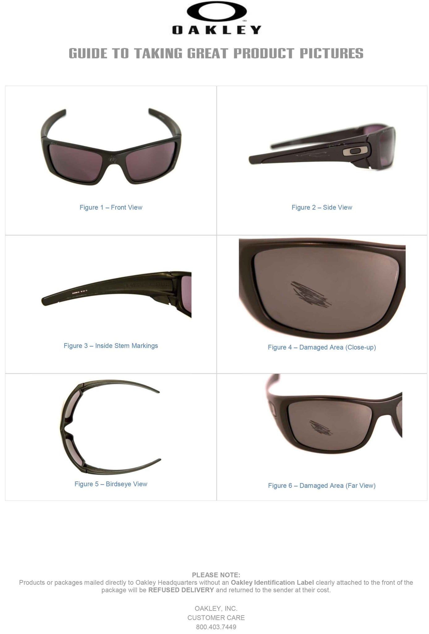 Oakley Sunglasses Warranty Guide to Taking Pictures for Service Warranty Coverage Eyewear Image Guide Pictures