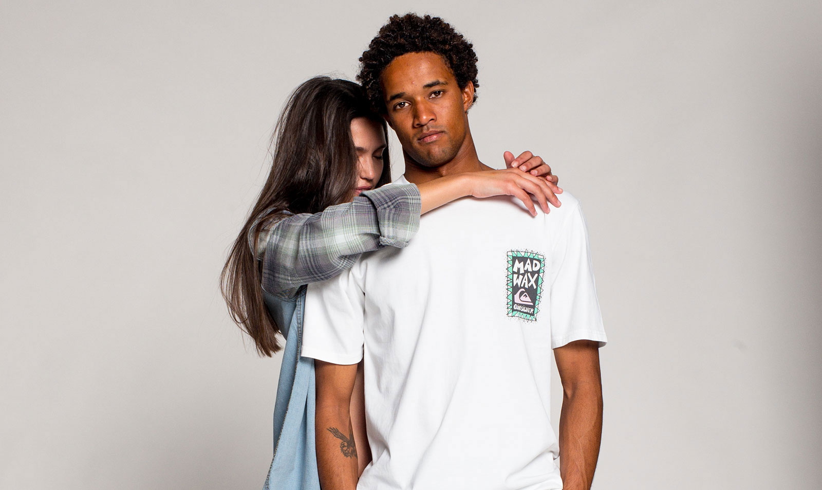 Girl hugging man with white tshirt