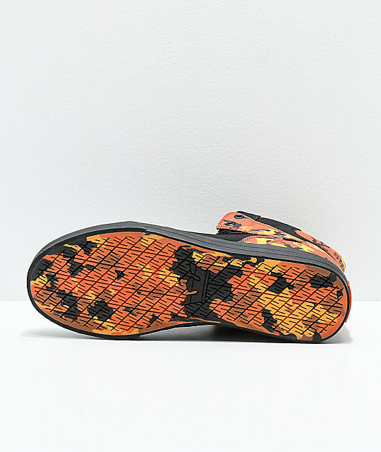 Supra x Rothco Vaider Black & Savage Orange Camo Skate Shoes