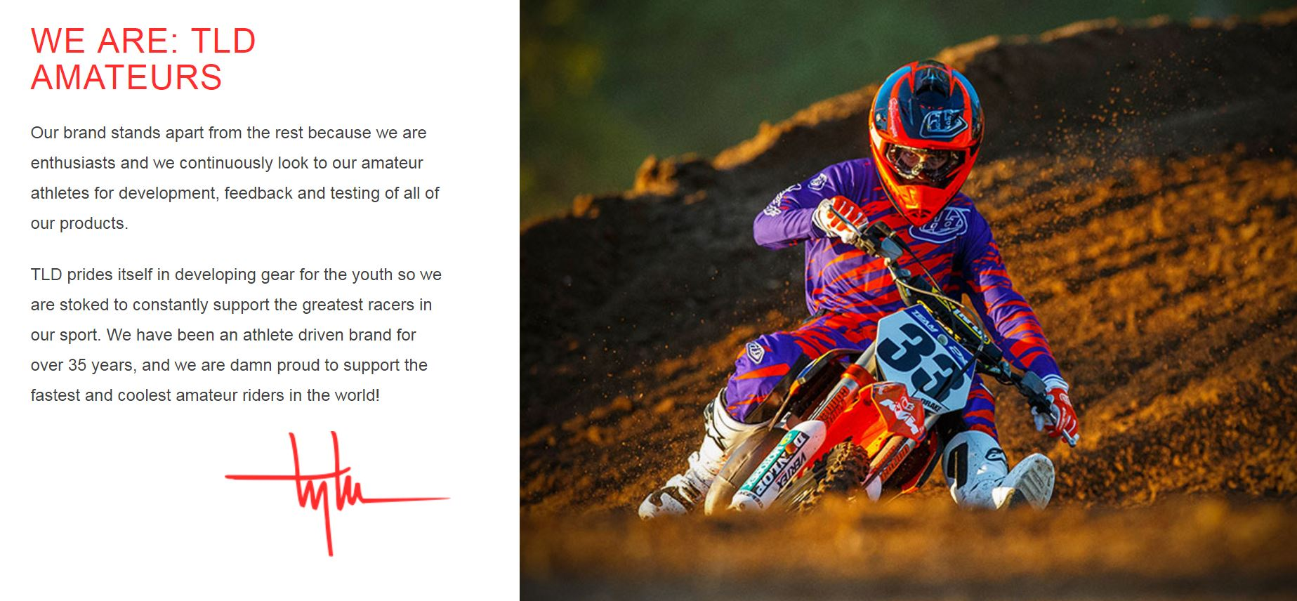 Troy Lee Designs Amateur Motorcycle MX Athletes Sponsored Team 2016