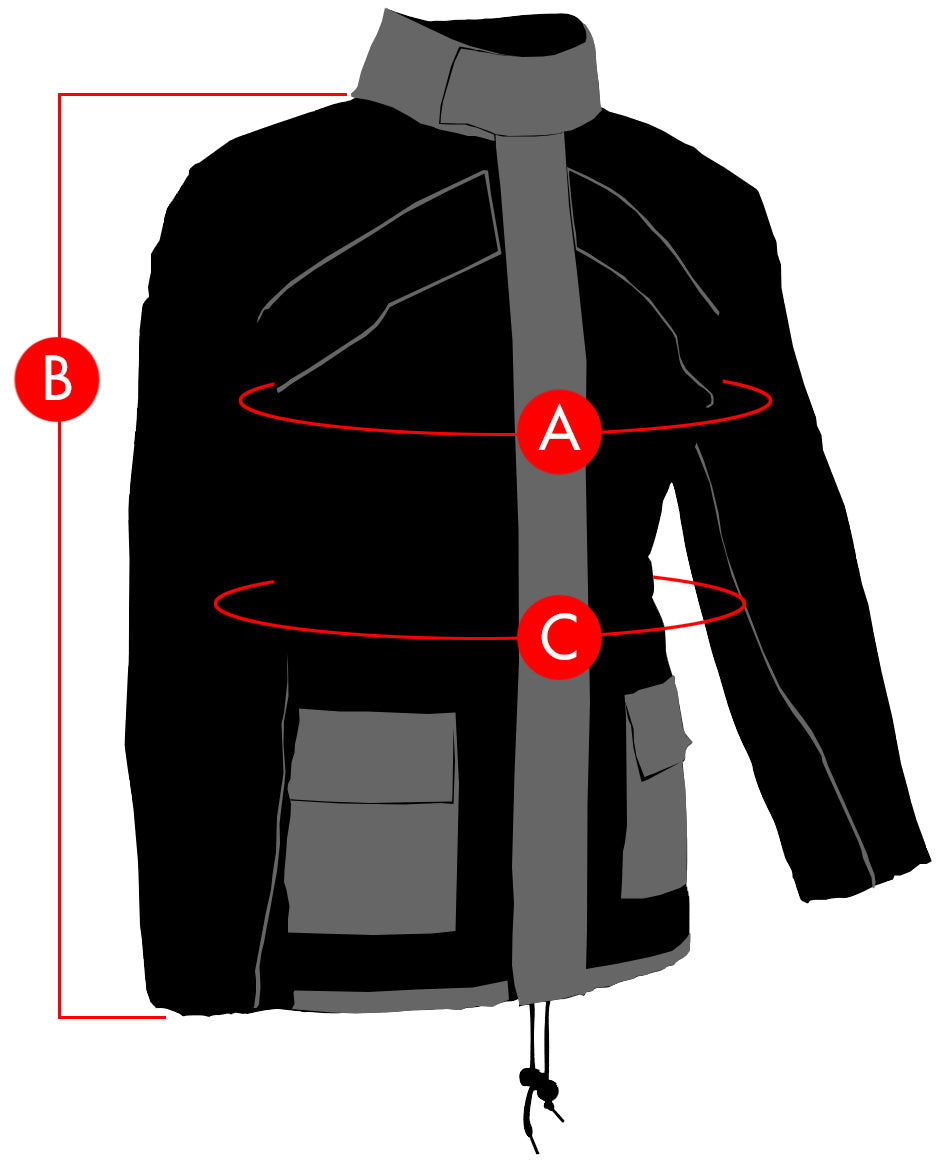 Joe Rocket Rainsuit Jacket Size Charts