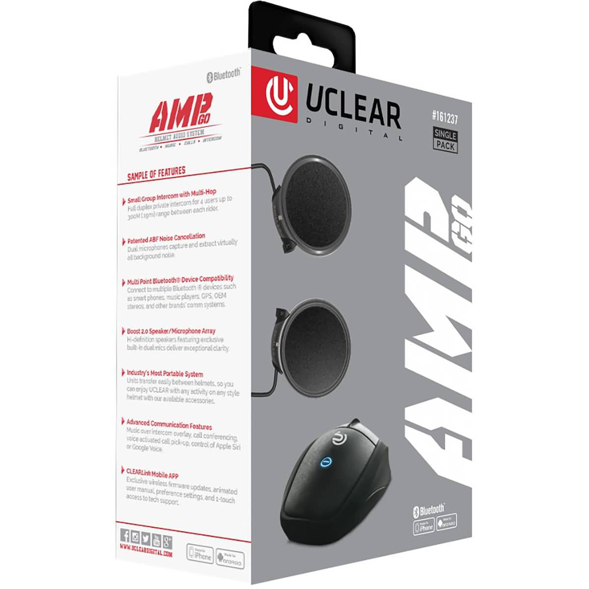 Uclear AMP Go Bluetooth Helmet Audio System-161237