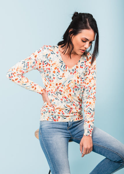 Evelyn Floral V-Neck Sweater