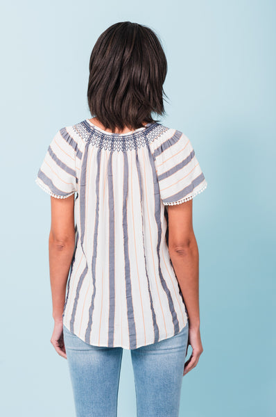 Penelope Striped Breezy Blouse F727R