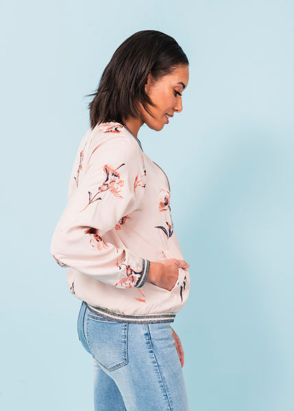 Embroider Floral Reversible Jacket J921 BLUSH