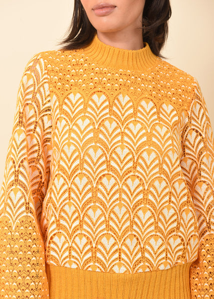 Mustard Embroidered Lace Sweater MUSTARD