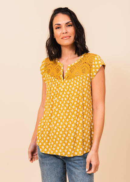 Grace Embroidered Short-Sleeved Top F382N MUSTARD