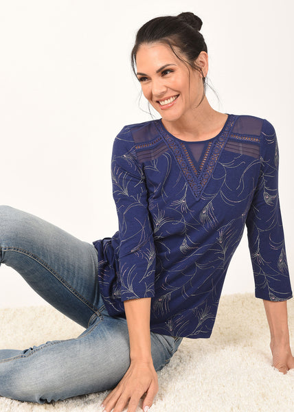 Blue Tee with Whimsical Print and Sheer Neck Details