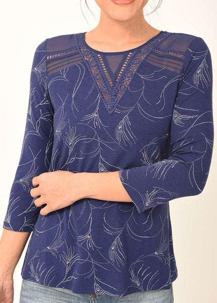 Blue Tee with Whimsical Print and Sheer Neck Details Indigo